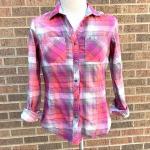 Columbia Pink Plaid Flannel Button Down Blouse